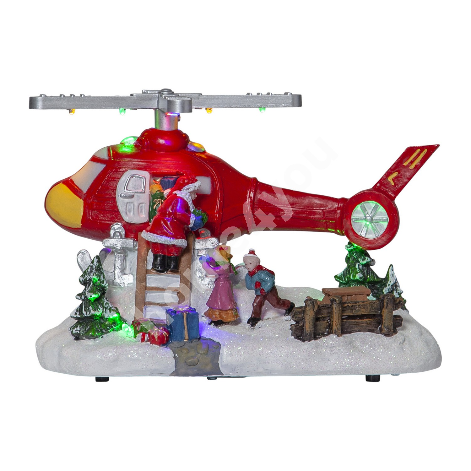 Christmas decoration MERRYVILLE 21x14xH14cm, helicopter with LED-light RGB, taimer 6h