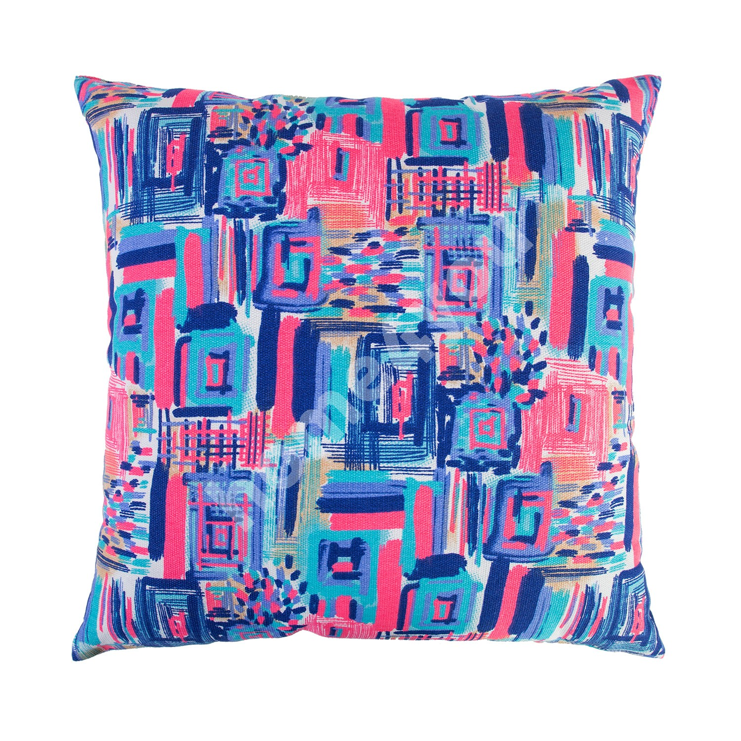 Cushion SUMMER 45x45cm, blue/pink brush strokes, 50%polyester, 50%cotton, fabric 119