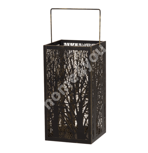 Lantern FOREST, D18xH34cm, must/kuldne metall