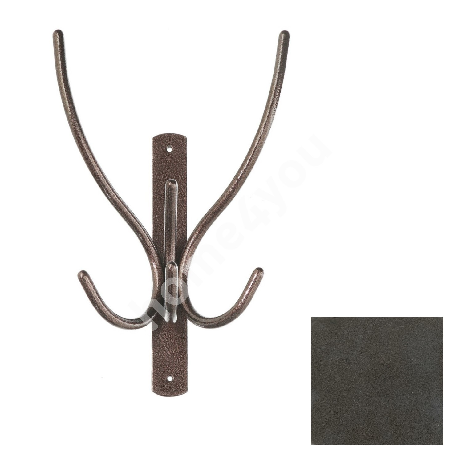 Wall coat rack IBEX 3, 20x29x10cm, dark silver