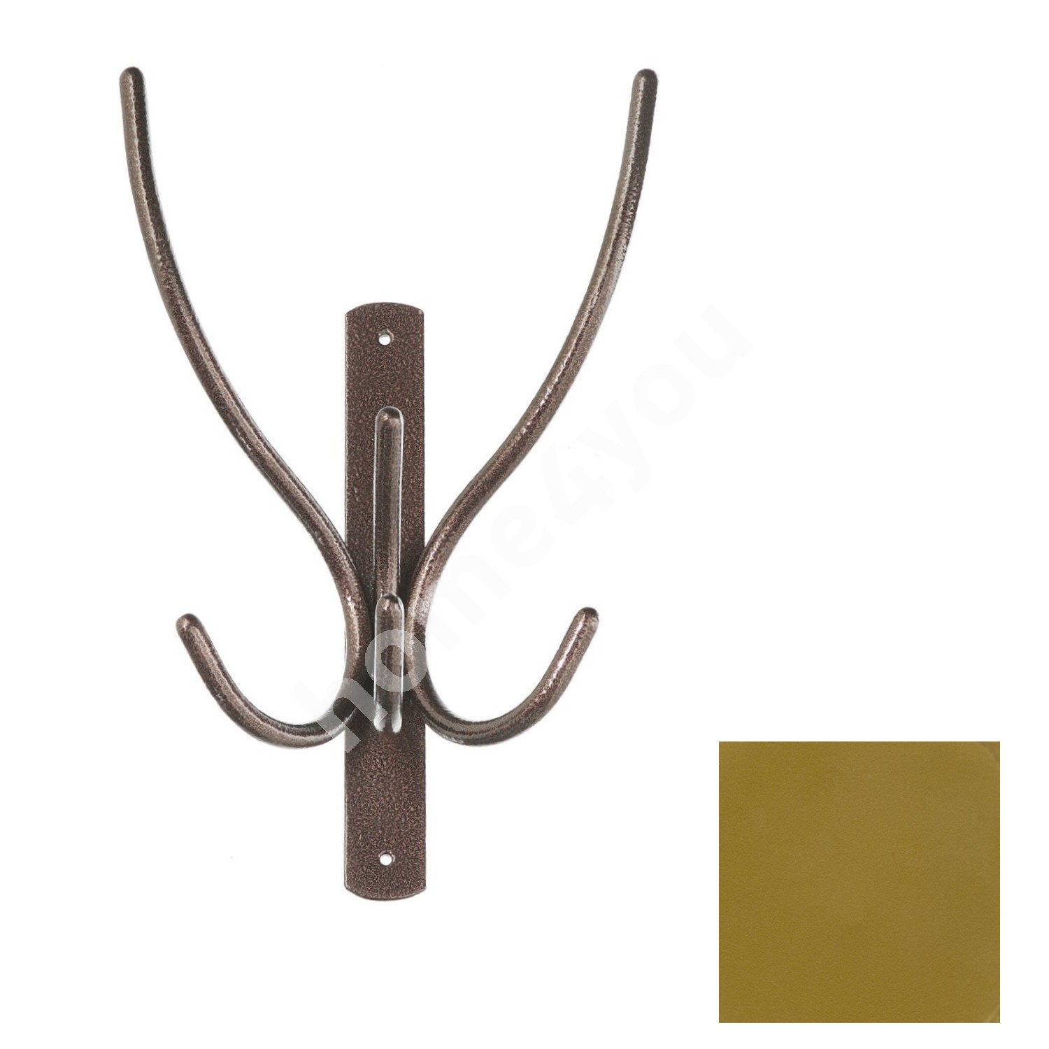 Wall coat rack IBEX 3, 20x29x10cm, golden