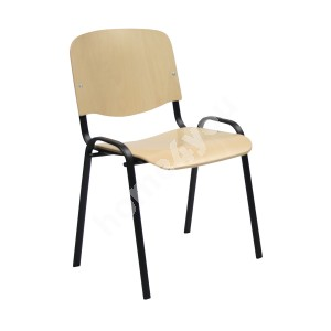 Guest chair ISO 54,5xD42,5xH82/47cm, seat and back rest: veneer, color: natural beech, frame: black