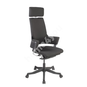 Task chair DELPHI with headrest, 60xD47xH116-128,5cm, seat and back rest: fabric, color: black