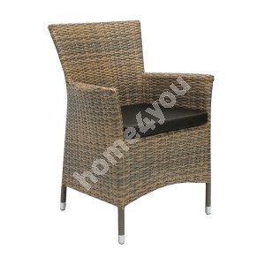 Chair WICKER-1 with cushion 61x58xH86cm, steel frame with plastic wicker, color: cappuccino