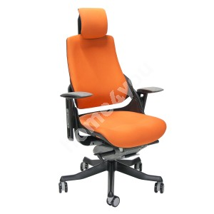 Task chair WAU with headrest, 65xD49xH112-129cm, seat: fabric, color: orange, black outer shell