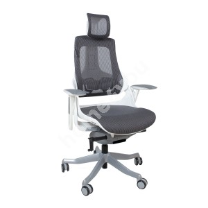 Task chair WAU with headrest, 65xD49xH112-129cm, grey mesh fabric, white outer shell