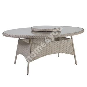 Table PACIFIC 180x120xH74cm with lazy susan, table top: glass, aluminum frame with plastic wicker, color: greyish beige