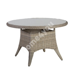 Table PACIFIC D120xH75cm, table top: glass, aluminum frame with plastic wicker, color: greyish beige