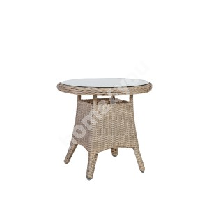Table PACIFIC D60xH55cm, table top: clear glass, aluminum frame with plastic wicker, color: greyish beige
