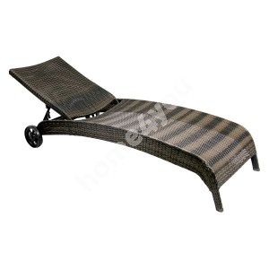 Deck chair WICKER 73x196x99cm, aluminum frame with plastic wicker, color: dark brown