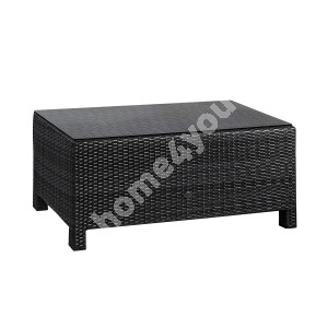 Coffee table SEVILLA 102x50,5xH43,5cm, table top: 5mm clear glass, aluminum frame with plastic wicker, color: black