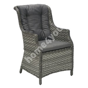 Armchair GENEVA 76x61xH98cm, aluminum frame with plastic wicker, color: grey