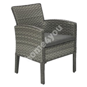 Chair GENEVA with cushion 64x62xH85,5cm, aluminum frame with plastic wicker, color: grey