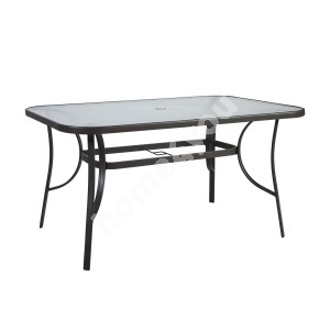 Table DUBLIN 150x90xH70cm, table top: 5mm transparent wave glass, steel frame, color: dark brown