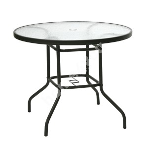 Table DUBLIN D90xH71cm, table top: 5mm transparent wave glass, steel frame, color: dark brown