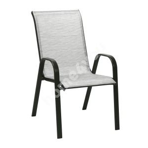 Chair DUBLIN 73x55,5xH93cm, seat and back rest: textiline, color: silver grey, steel frame, color: dark brown