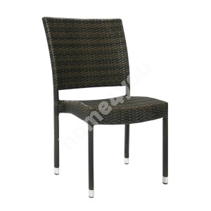 Chair WICKER-3 60x49,5xH92,5cm, aluminum frame with plastic wicker, color: dark brown