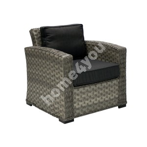 Armchair GENEVA with cushions, 78x75x78cm, aluminum frame with plastic wicker, color: grey