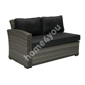 Module sofa GENEVA with cushions, with left arm 81x132x78cm, aluminum frame with plastic wicker, color: grey