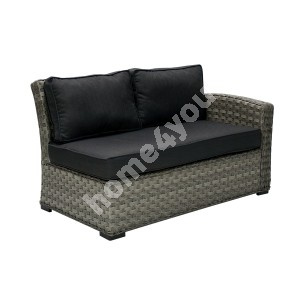 Module sofa GENEVA with cushions, with right arm 81x132x78cm,  aluminum frame with plastic wicker, color: grey