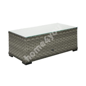 Coffee table GENEVA 105x51xH39cm, table top: 5mm clear glass, aluminum frame with plastic wicker, color: grey