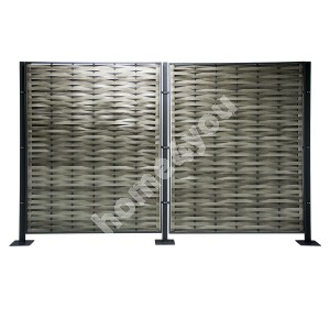 Screen GENEVA 297x29,5x181,5cm, aluminum frame with plastic wicker, color: grey