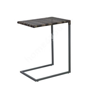 Side table WICKER 51x40xH65,5cmcm, table top: plastic wicker, color: dark brown, steel frame, color: grey
