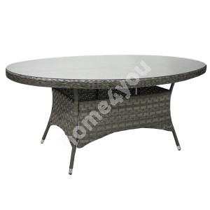 Table GENEVA oval 180x120xH77cm, table top: clear glass, aluminum frame with plastic wicker, color: grey