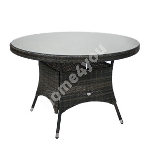 Стол WICKER D120xH76см, столешница: прозрачное стекло, рама: алюминий с плетением из пластика, цвет: тёмно-коричневый