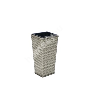 Plant holder GENEVA 26,5x26,5xH56cm, steel frame with plastic wicker, color: grey