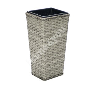 Plant holder GENEVA 37,5x37,5x76,5cm, steel frame with plastic wicker, color: grey