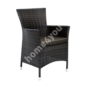 Chair WICKER-1 with cushion 61x58xH86cm, steel frame with plastic wicker, color: dark brown