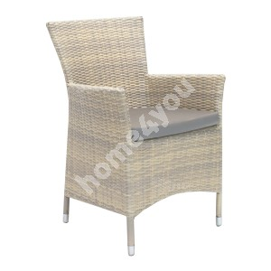 Chair WICKER-1 with cushion 61x58xH86cm, steel frame with plastic wicker, color: beige
