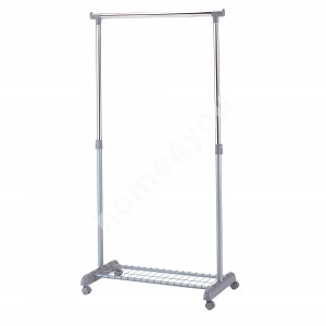 Clothes hanger FRANK with shoe rack on wheels 83x43xH93,5-168cm, color: silver-chrome
