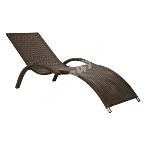 Deck chair MERIDIAN 180x75x73cm, aluminum frame with plastic wicker, color: coffee brown