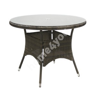 Стол WICKER, D100xH71см, столешница: прозрачное стекло, рама: алюминий с плетением из пластика, цвет: тёмно-коричневый