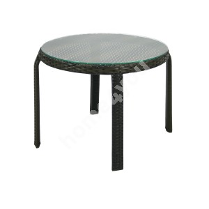 Side table WICKER D52xH43cm, table top: clear glass, aluminum frame with plastic wicker, color: dark brown