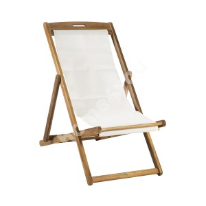 Deck chair FINLAY 62,5x108xH105cm, white textiline seat, frame: acacia, finishing: oiled