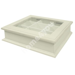 Teabox SAMIRA 26,5x22x8,5cm, wood: paulownia, color: antique white