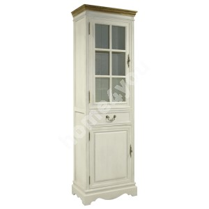 Display cabinet SAMIRA with 2-doors and drawer, 60x35xH195,5cm, color: antique white / brown