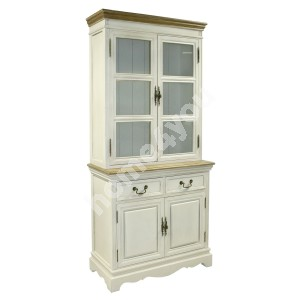 Display cabinet SAMIRA with 4-doors and 2-drawers, 85,5x39,5/31xH189,5cm, color: antique white / brown