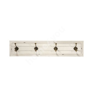 Wall hanger SAMIRA with 4-hooks, 84,5x10,5x18cm, color: antigue white