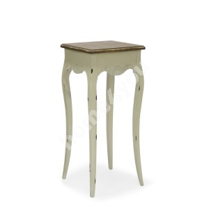 Flower stand SAMIRA-2, 26x26xH62cm, top: MDF, frame and legs: ash, color: antique white / brown