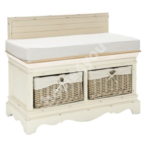 Hall bench SAMIRA, 90x42x70,5cm, with 2 baskets, with pillow, color: antique white / brown