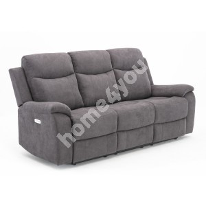Recliner sofa MILO 3-seater 209x96xH103cm, with electric mechanism, grey