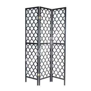 Folding screen ORIENTAL with 3 - panels 130,5x2xH179cm, pine wood frame, color: black