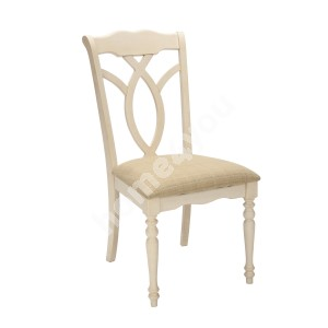 Chair LILY 49x63xH98cm, seat fabric, color: beige, legs and frame: rubber wood, color: antique white