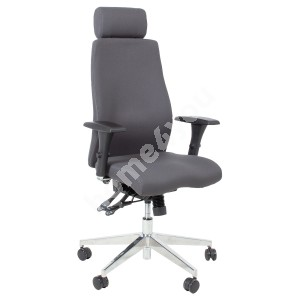 Task chair SMART EXTRA with head rest 60x63,5-70xH114-123cm, seat and back rest: fabric, color:  grey