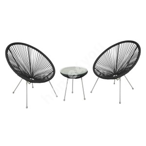 Balcony set COMO table and 2 chairs, black