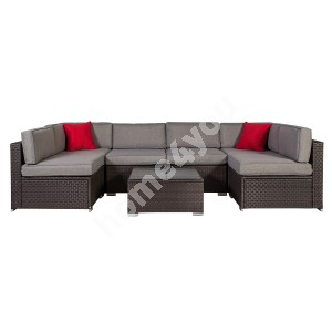 Garden furniture set CLIFF with cushions, table and corner sofa, aluminum frame with plastic wicker, color: grey